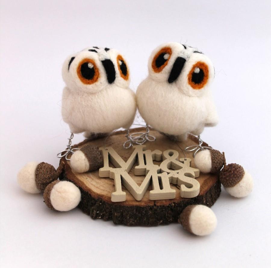زفاف - Mini Owl Wedding Cake Topper Snowy Owl Pair in Natural White Felt Birds