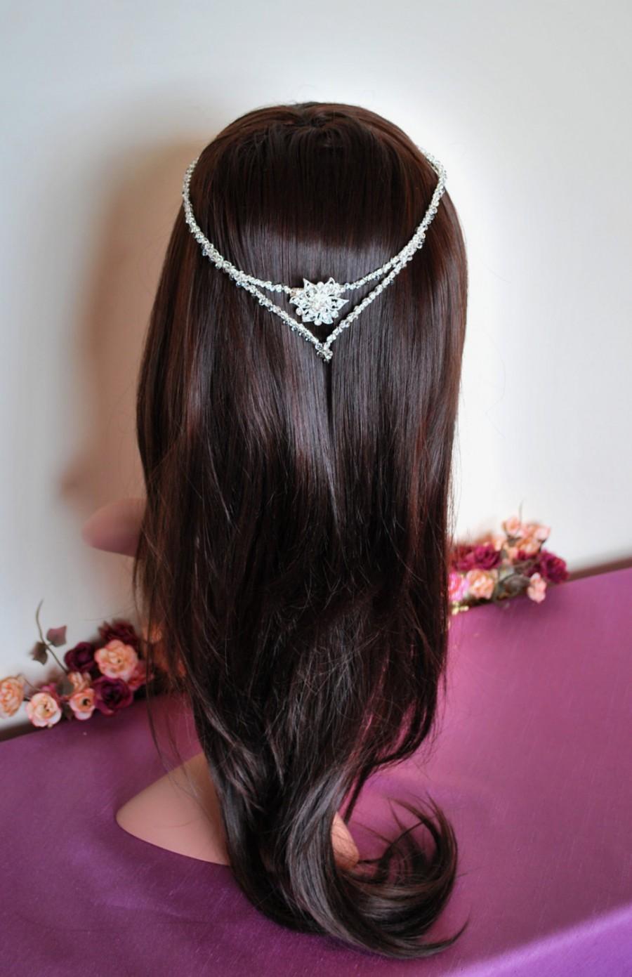 Mariage - Circlet, rhinestone circlet, wedding halo, diamond circlet,  bridal halo, elven tiara, fairy crown, diamond halo, diamante wreath, boho chic