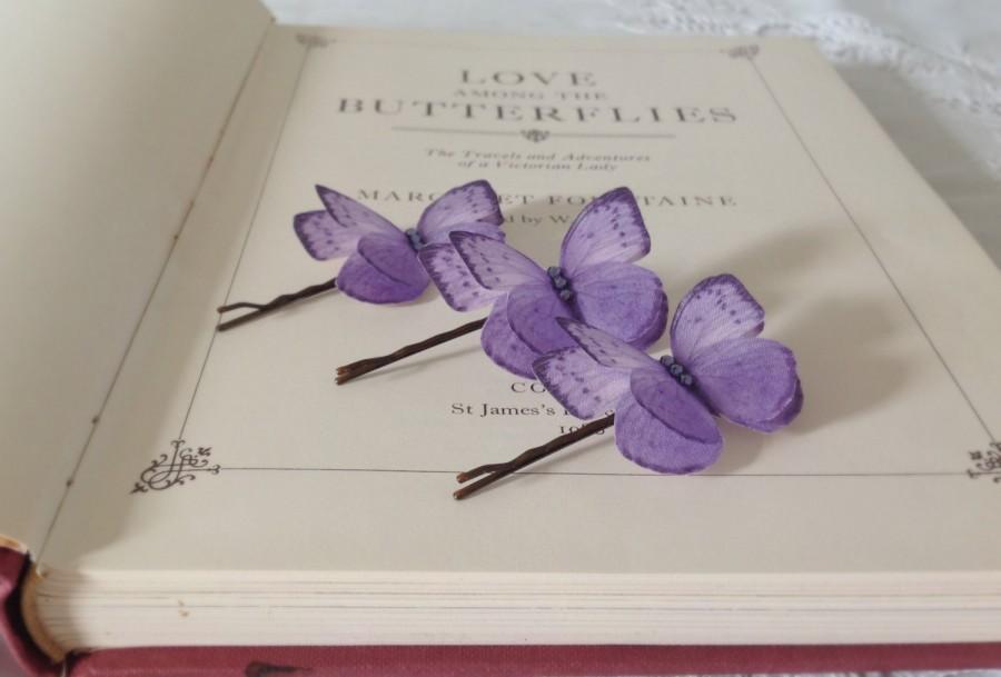 زفاف - Hand Cut silk butterfly hair pin - Lavender Sparkles
