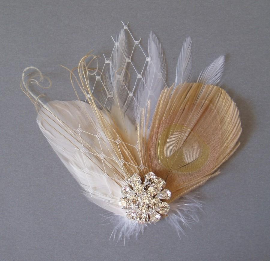 Свадьба - Wedding Hair Accessories Bridal White Ivory Champagne Feather Head Piece Hair Clip Fascinator Accessory