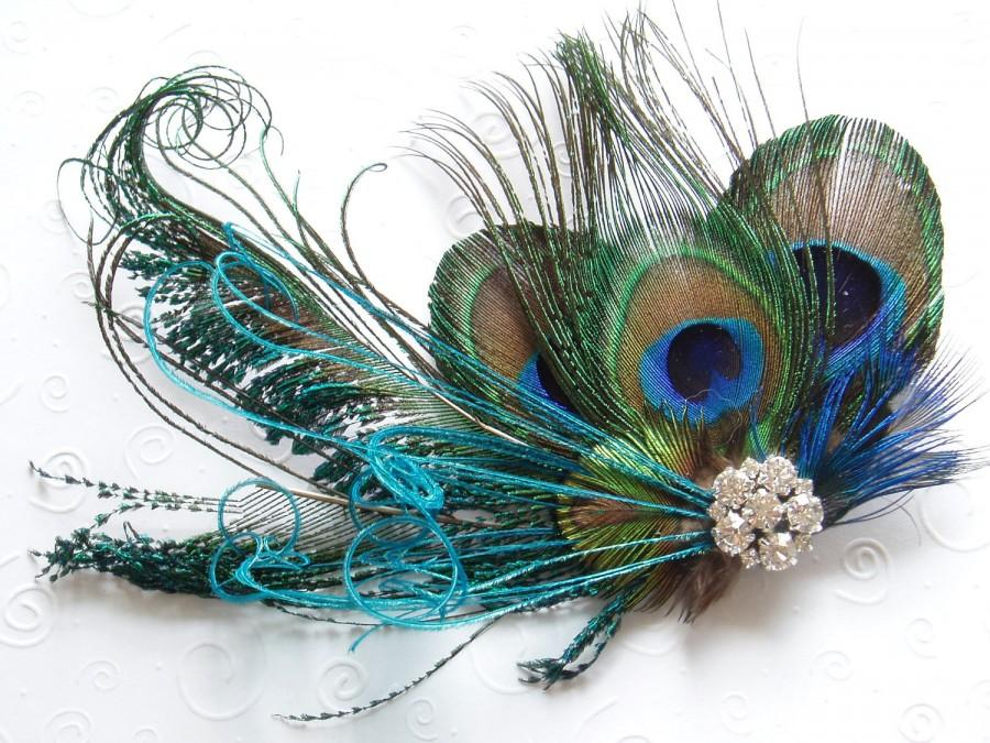 Свадьба - BRIDAL HAIR PIECE bridesmaid accessories Peacock Wedding Hair Clip Feather Fascinator headpiece turquoise bridesmaid accessory