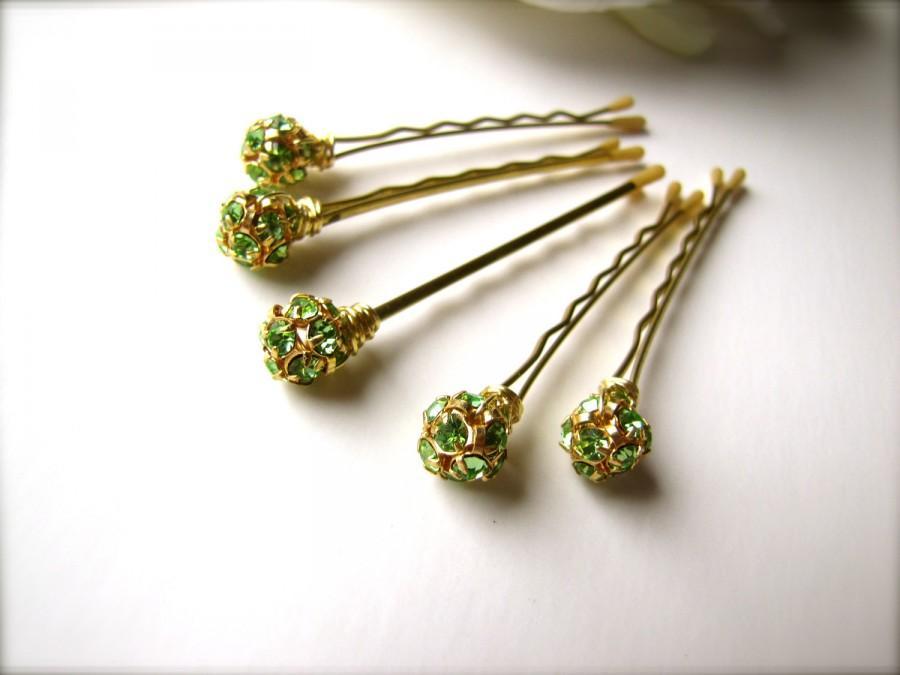 Mariage - Green and Gold Crystal Rhinestone Hair Pins