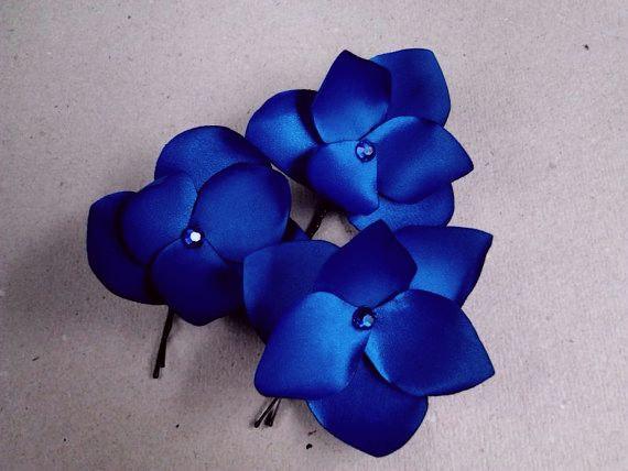Mariage - Royal Blue Hair Flowers  Blue Hair Pins Royal Blue Hair Clips Rhinestones Royal Blue Bridal Headpiece Blue Bridesmaids Gift   -  3 pcs