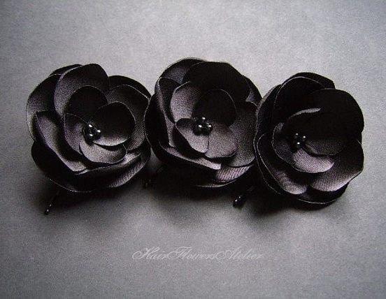 Mariage - Black Hair Pins Bobby Pins Black Hair Flowers Black Bride Bridesmaids Floral Hair Clips Black Hair Slides Black Hair Clips - Set of 3
