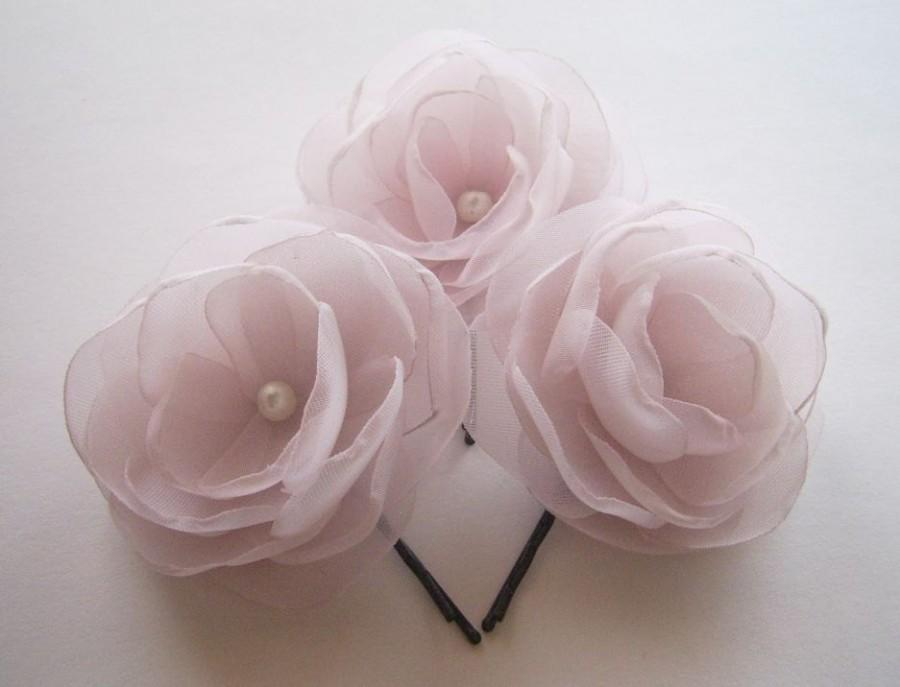 Mariage - Antique Pink Hair Clip Lavender Boutonniere Light Lilac Pink Bridal Flowers Old Rose Blush Pink Hair Flowers Old Pink Boutonniere Pink Lapel