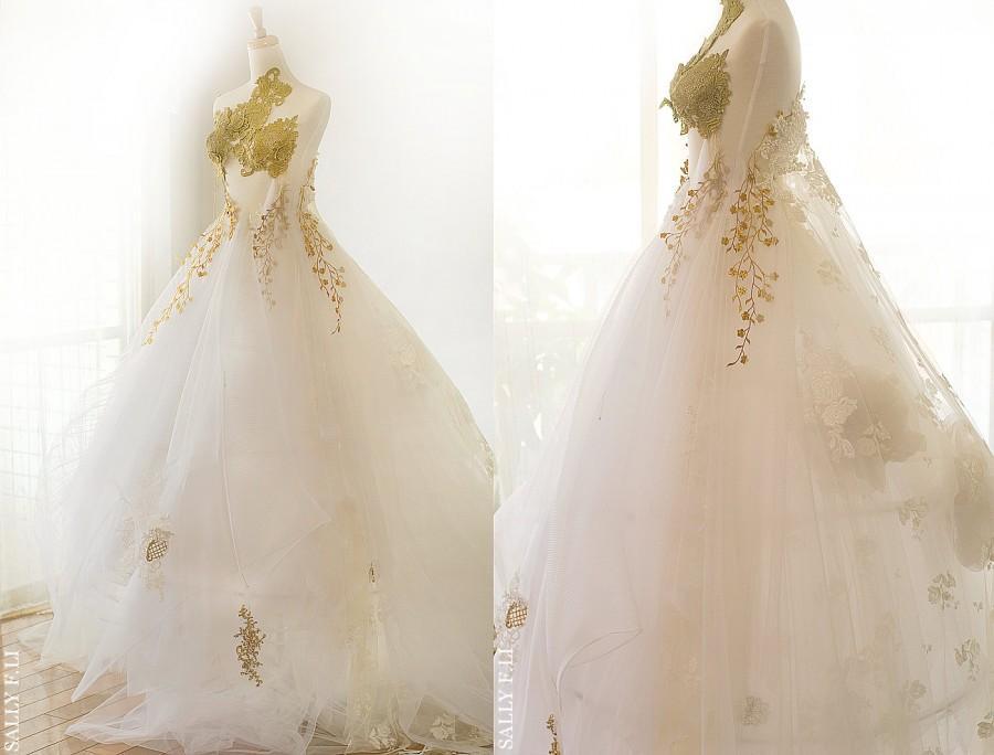 Melody Handmade Chiffon Flowers Romantic Gold Embroidery Wedding