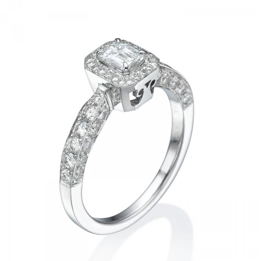 Wedding - Pave Diamond Engagement Ring, Art Deco Engagement Ring, Halo Ring, 18K White Gold Ring, Emerald Cut Engagement Ring,White Gold Anniversary