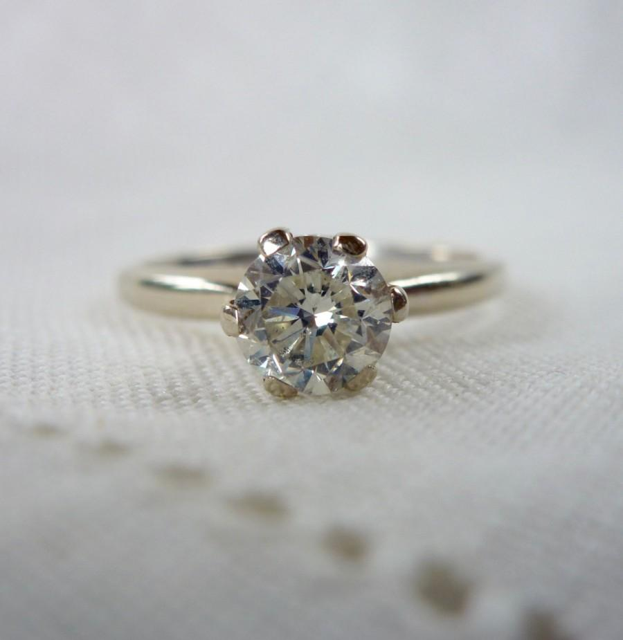 Wedding - A Vintage .69 Carat Diamond Solitaire in 14kt White Gold Engagement Ring - Carmen