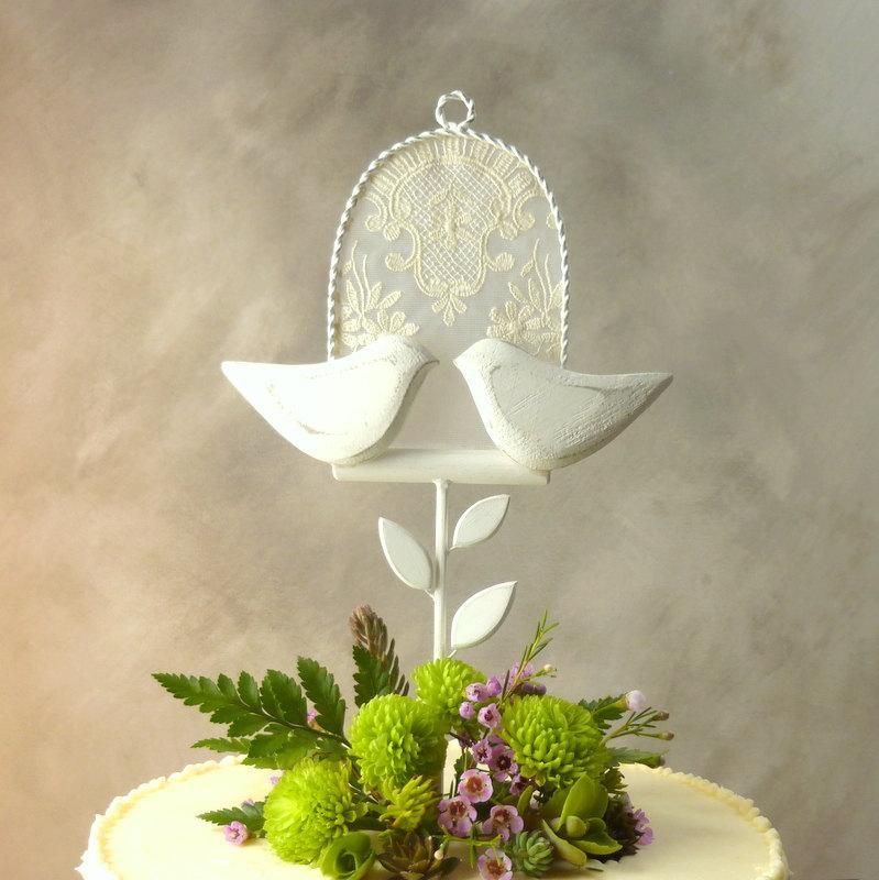 Свадьба - Antique Lace Cake Topper, Wood Wedding Cake Topper, White Wedding Topper, Love Bird Topper/ Bridal Topper