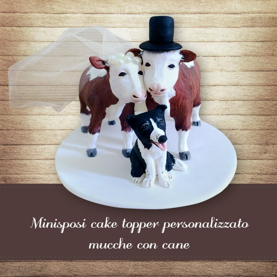Свадьба - Rustic wedding cake topper cows and dog Custom cows wedding Personalized cake topper with cow and dog figures Rustic cake topper