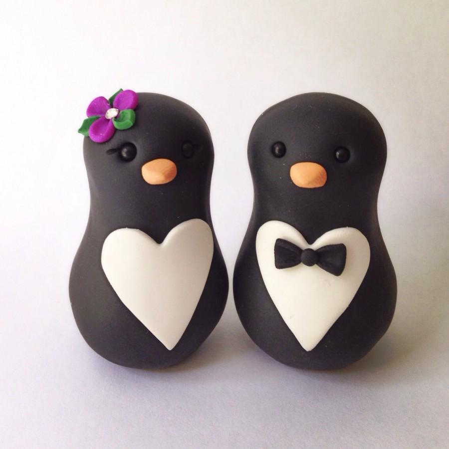 Свадьба - SALE was 70 READY to SHIP Penguin love Wedding Cake Topper Handmade
