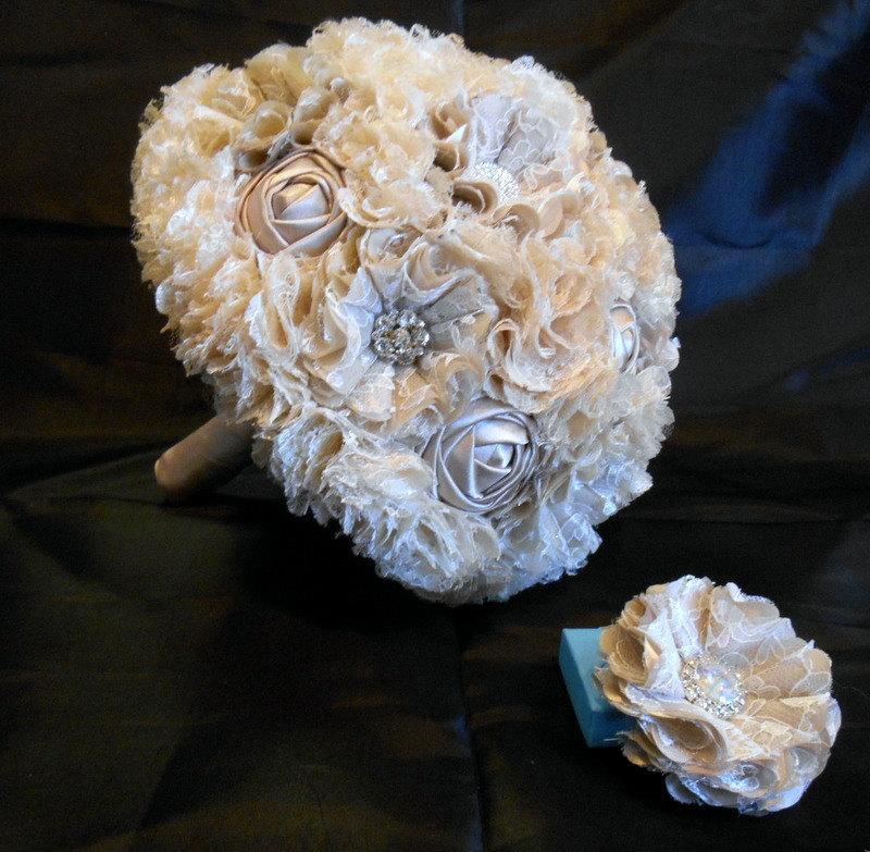 زفاف - Wedding Bouquet, Bridal Bouquet, Fabric Bouquet, Lace Bouquet, Quinceanera Bouquet, Bridesmaid Bouquet, Taupe Roses, Bling Bouquet