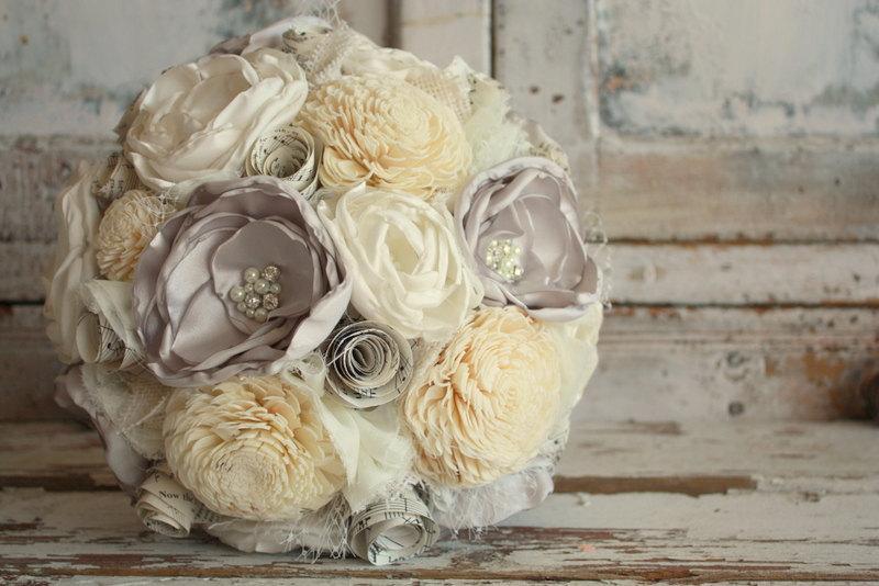 زفاف - Gray wedding bouquet, Gray and ivory fabric flower bridal bouquet, Sola flower wedding bouquet, custom made in any color