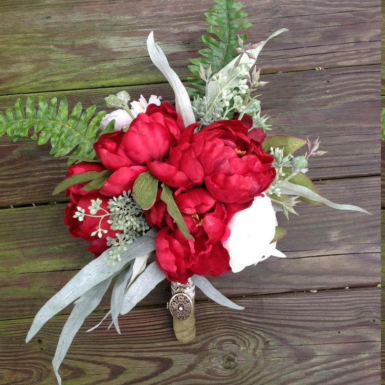 زفاف - Red Peony Bride Bouquet- Red Peony Whimsical Bouquet- Rustic Bridal Bouquet