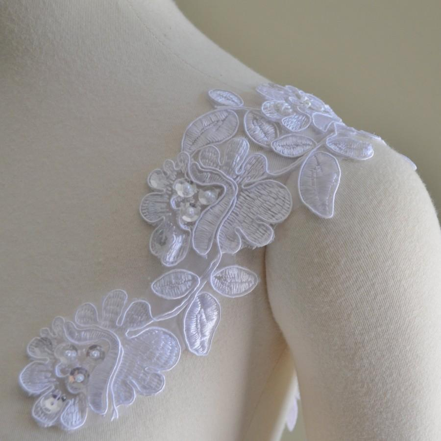 Set Of Two Detachable White Or Ivory Beaded Corded Lace