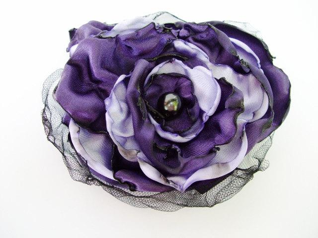 Mariage - Purple and Lavender Flower Accessory, Hair Clip or Pin Brooch, Wedding, Bridal Sash, Maternity Sash