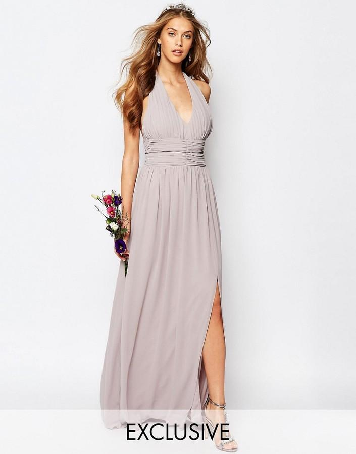 Mariage - TFNC WEDDING Halter Chiffon Maxi Dress