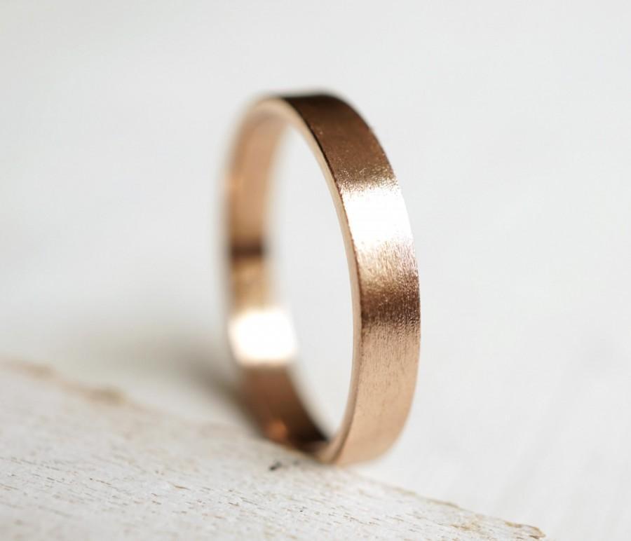 Wedding Ring Flat Wedding Band 14k Rose Gold Ring Palladium