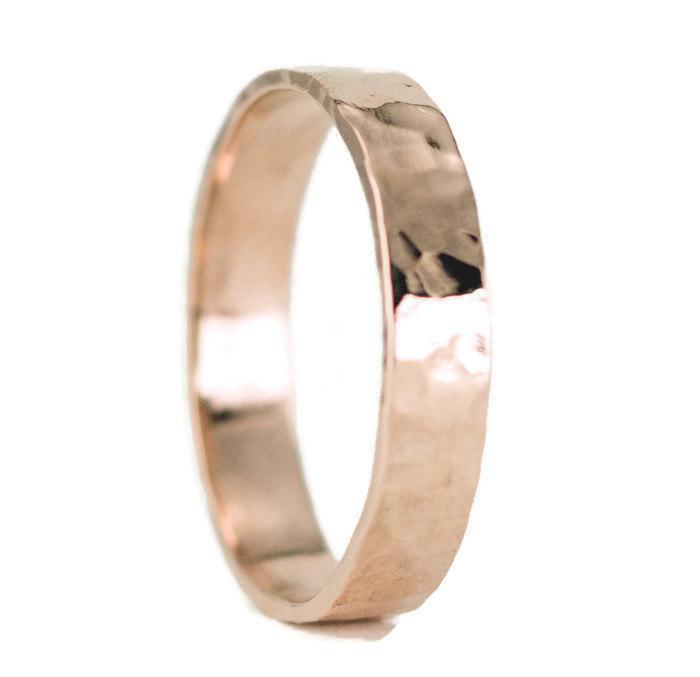 Mariage - 14k Rose Gold Wedding Ring - Unisex 4mm Classic Flat Wedding Band - Hammered or Smooth