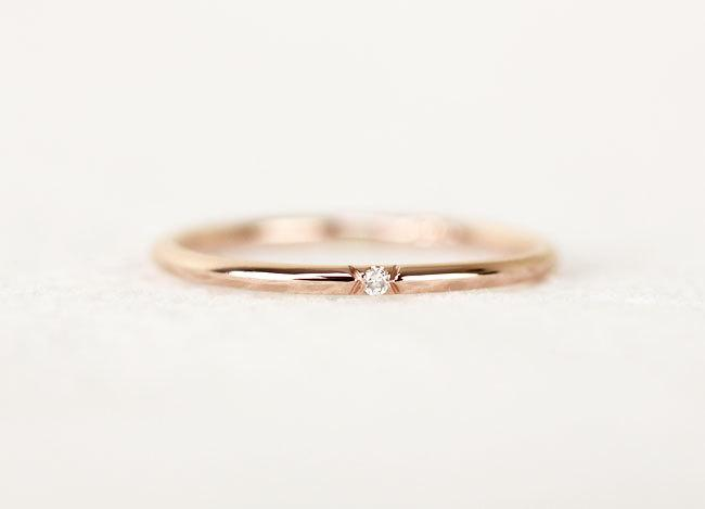 Single Diamond Gold Wedding Band Stackable Dainty 14k Solid Gold