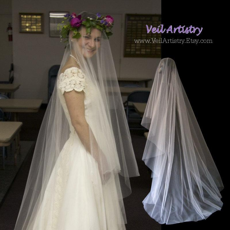 زفاف - Bridal Veil, Simplicity Veil, Drop Veil, 2 Tier Bridal Veil, Sweep Length Veil, Made-to-Order Veil, Handmade Veil