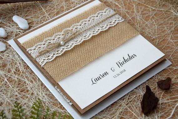Свадьба - Custom Invitations, Rustic Lace Wedding Invitation Kit, Pocket Invitation, Burlap and Lace Wedding Invitation, Pocketfold Invite - SAMPLE