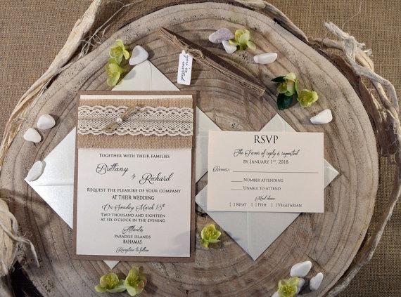 Свадьба - Rustic Wedding Invites, Burlap and Lace Wedding Invitation, Burlap Wedding Invitation, Rustic Lace Wedding Invite, Invitation Wedding SAMPLE