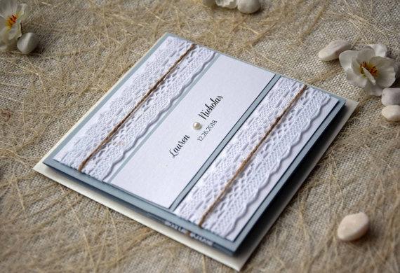 Hochzeit - Grey Wedding Invitation, Pocketfold Invites, Custom Invitations, Elegant Wedding Invitation Kit, Lace Wedding Invitation - SAMPLE