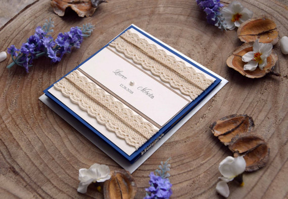 Navy Blue Wedding Invitation Pocketfold Invites Custom Invitations Elegant Kit Lace Sample