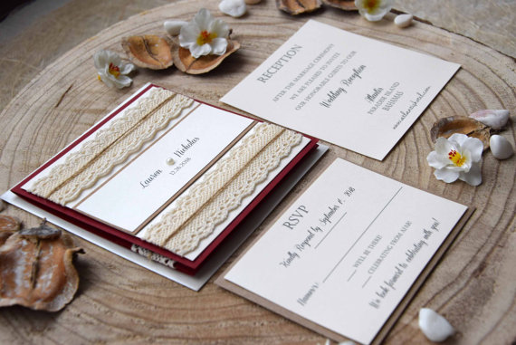 Burgundy Wedding Invitation Pocketfold Invitation Elegant Wedding