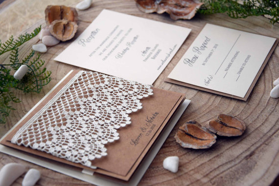 rustic wedding invitations, lace invitations, pocket wedding,