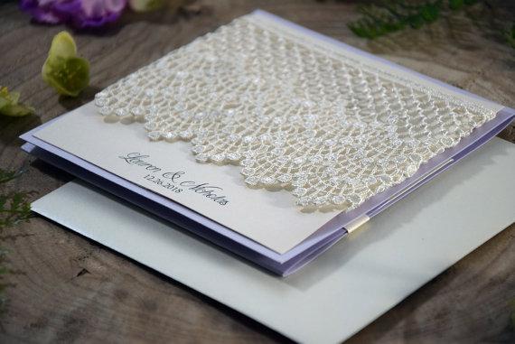 Wedding - Lavender Wedding Invitation, Rustic Purple Wedding Invitation, Shabby Chic Invitation, Lace Wedding Invitation, Lilac Invitation - SAMPLE