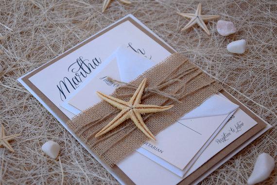 Unique Wedding Invitation Samples: Rustic Invitations, Beach Wedding Invitation, Starfish