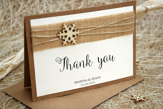 Winter Wedding Thank You Card Christmas Cards Notes Folded Rustic
