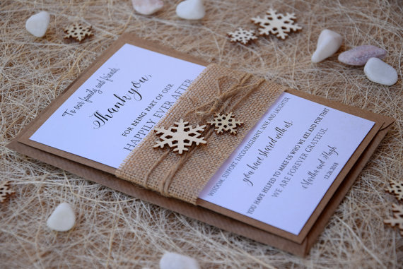 Wedding - Christmas Thank You Cards, Winter Thank You Cards, Thank You Cards, Burlap Thank You Notes, Rustic Thank You Cards