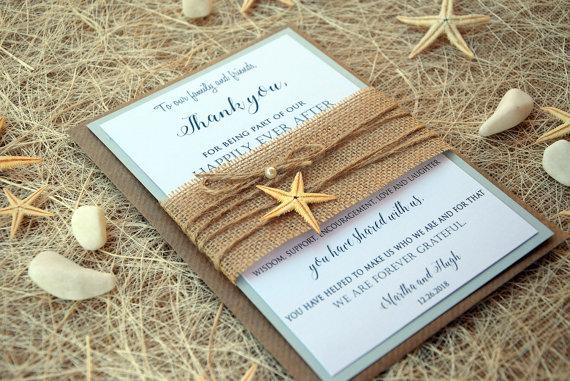 wedding thank you cards beach thank you cards bridal shower thank you cards rustic thank you notes beach wedding burlap thank you cards