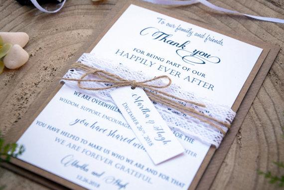 Wedding - Wedding Thank You Card, Rustic Thank You Card, Lace Wedding Thank You Card, Custom Thank You Card