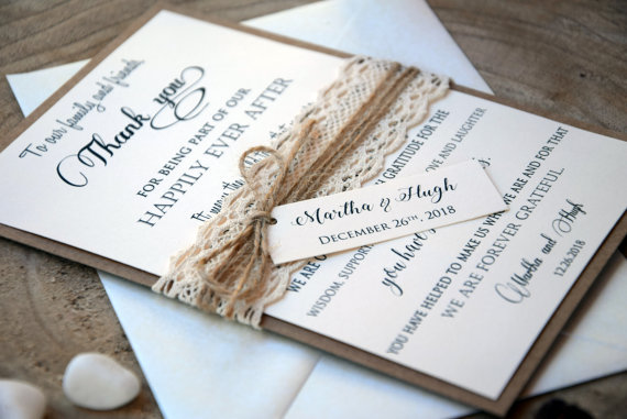 Wedding Thank You Cards Rustic Thank You Cards Wedding Lace