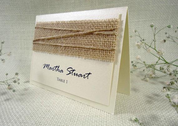 زفاف - Burlap Wedding Place Cards Name Place Cards Holders for Weddings Burlap Place Cards
