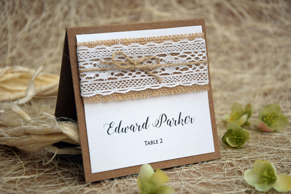 Chic Place white lace wedding place cards, rustic place cards, escort cards