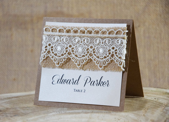 Rustic Place Cards Lace Place Cards Escort Cards Wedding Place