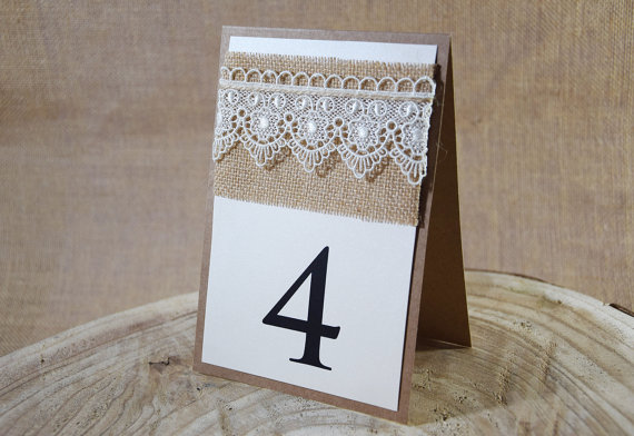 Wedding - Rustic Table Number, Lace Table Number, Escort Cards, Wedding Table Numbers, Burlap Table Numbers, Kraft Table Number, Rustic Chic