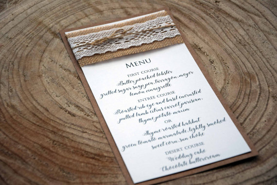 rustic wedding dinner menu wedding dinner menu wedding menu bridal shower menu rustic lace wedding menu burlap wedding menu