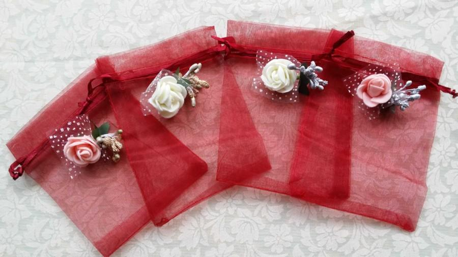 30 3D Rose Organza BagsCandy Drawstring BagsWedding Favor Bags