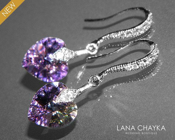 Light Purple Heart Crystal Earrings Swarovski Vitrail Silver Small Wedding Dangle Earring