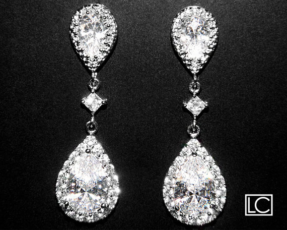 Свадьба - Cubic Zirconia Bridal Earrings Silver CZ Wedding Earrings Clear Cubic Zirconia Teardrop Dangle Earrings Wedding Earrings Bridal CZ Jewelry