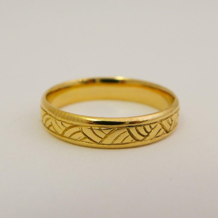 Yellow Gold Wedding Ring 14 Karat Solid Gold Wedding Band For Men