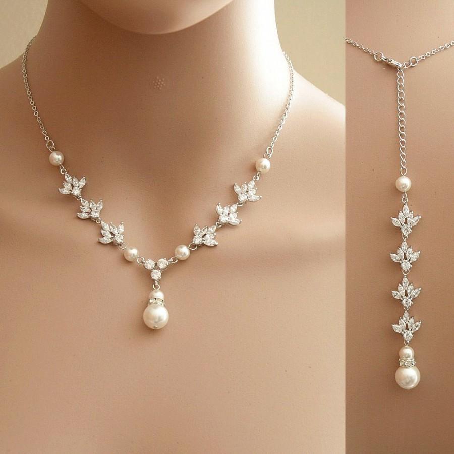 Mariage - Backdrop Wedding Necklace Crystal Backdrop Necklace Pearl Cubic Zirconia Bridal Necklace