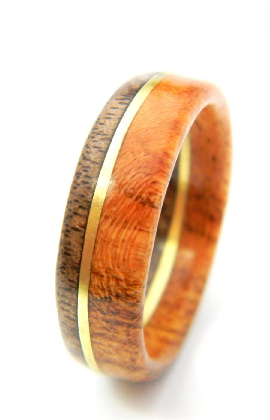 Mariage - Ready to Ship - Size 13 - Unique Walnut and Cherry Wood Engagement Ring, Jewelry, Ring, Wood Jewelry, Weddings, Wedding Band, Engagement