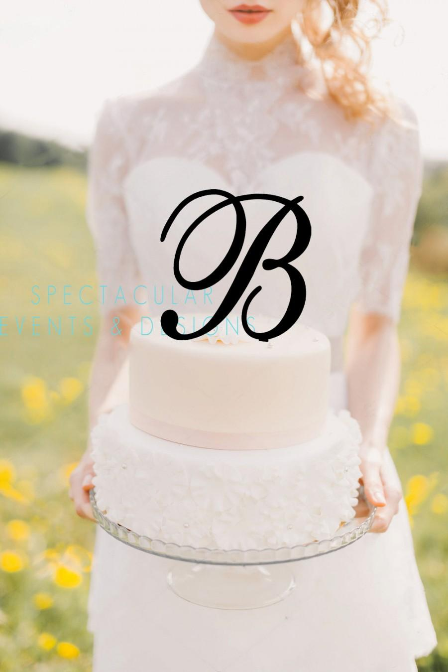 Свадьба - Ships Fast-Monogram Initial Letter Cake Topper-Wedding Birthday -5 Inches Tall (View Item Details Tab and Photos for More Info)